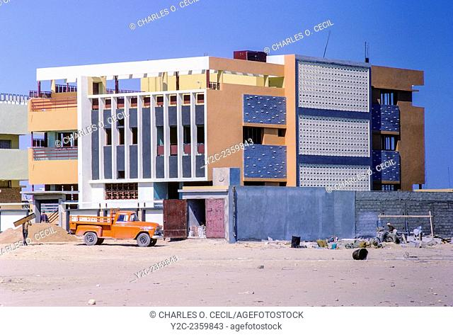 Kuwait March 1968. Modern House under Construction in the Style Favored in the late 1960s