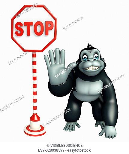 3d rendered illustration of Gorilla cartoon character with stop board
