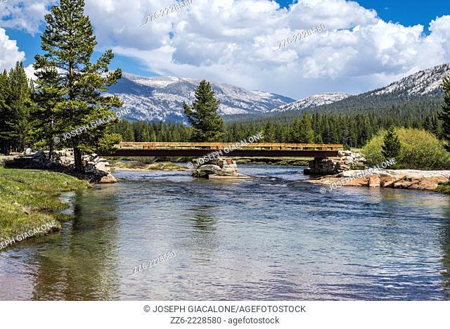 Tuolumne River and a footbridge. Yosemite National Park, California, United States