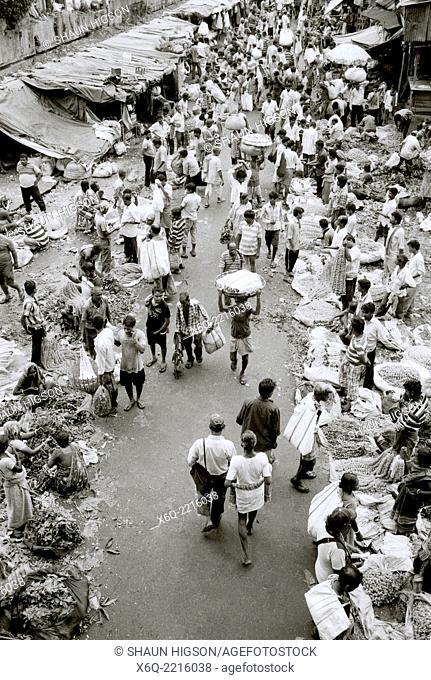 A flower market scene in Calcutta Kolkata in West Bengal in India in South Asia