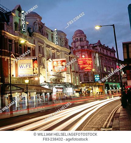 Theatres in Shaftesbury Avenue. London. UK