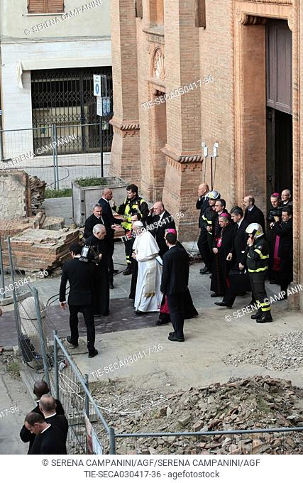 Pope Francis during the Pastoral visit in Mirandola (Modena ) and to the cathedral still unusable after the earthquakeal of 2012