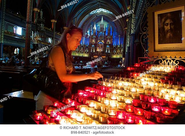 Montreal, Quebec, Canada, Prayer candles in Notre Dame Church