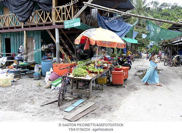 Market in Sok San Village, Koh Rong Island, Sihanoukville province, Kingdon of Cambodia