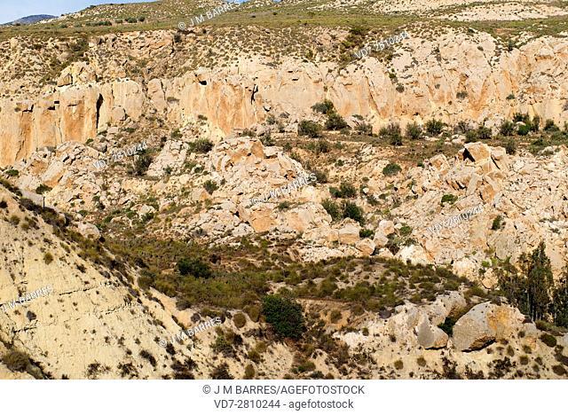 Gypsum karst in Sorbas Natural Park, Almeria, Andalusia, Spain. At the bottom Rio Aguas