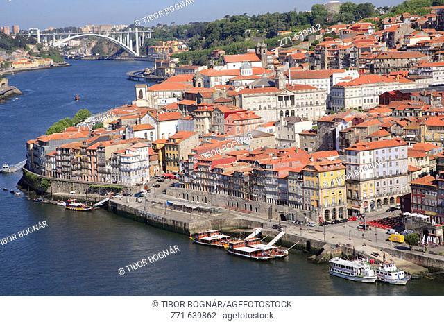 Portugal, Douro, Porto, general aerial view, Douro river