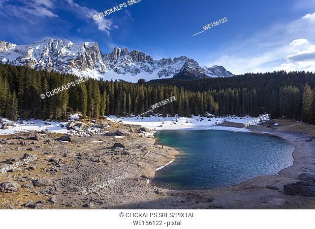 Lake Carezza, Latemar group, Dolomites, Trento province, Trentino Alto Adige, Italy, Europe. View of lake in spring