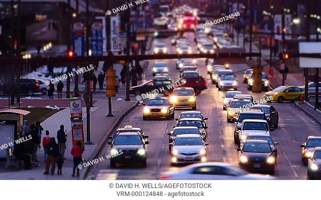 City traffic in Baltimore, Maryland near the inner harbor area