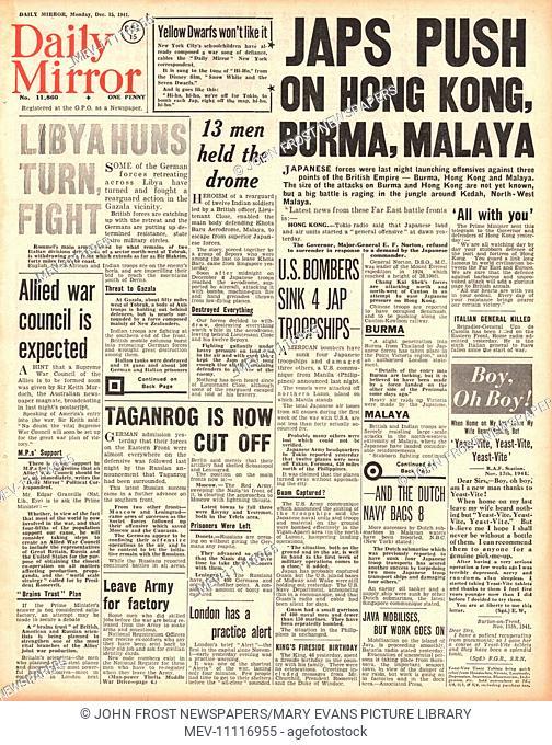 1941 front page Daily Mirror Japanese Army advance on Hong Kong, Burma, and Malaya