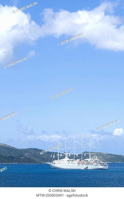 Yacht sailing ship ocean five masts Mediterranean