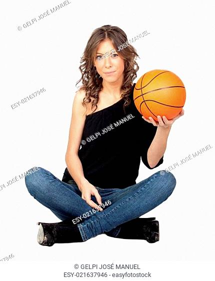 Attractive girl with a basket ball