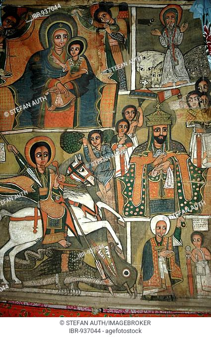 Wall painting, Mary with the infant Jesus, St George, Beta Marquorewos holy rock church, Lalibela, Ethiopia, Africa