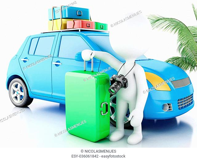 3d renderer image. White people with car and travel suitcases.. Travel concept. Isolated white background