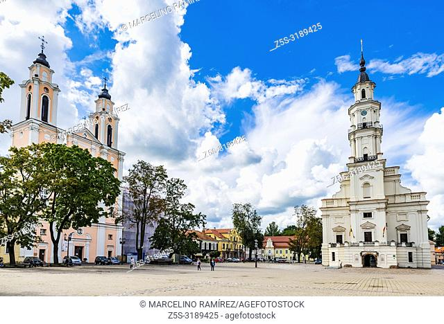 Church of St. Francis Xavier and the Town Hall of Kaunas, also called the white swan. Kaunas, Kaunas County, Lithuania, Baltic states, Europe