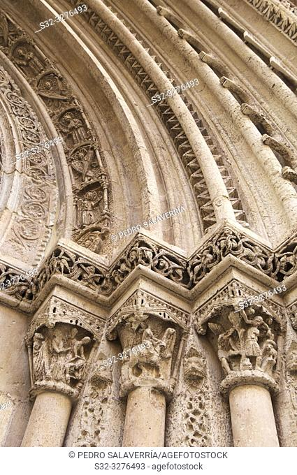Detail of Romanesque door Almoina, XIII century, in the cathedral of Valencia, Spain