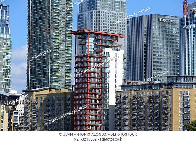 Canary Wharf business area office and apartment buildings. London, England, Great Britain, Europe