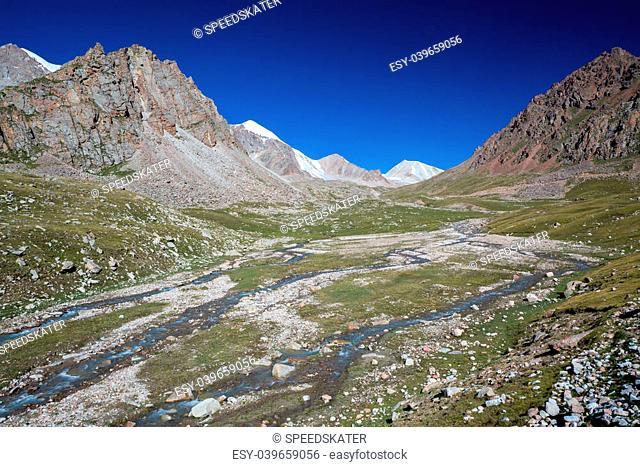 Twisting mountain river in Tien Shan. Kyrgyzstan