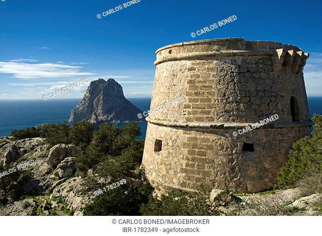 Cliff island of Es Vedrá as seen from Torre d'es Savinar, Ibiza, Spain, Europe