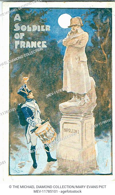 Promotional postcard for A Soldier of France by Clarence Burnette and C. A. Clarke. First produced at Woolwich 13th April 1908 Artist: Will True