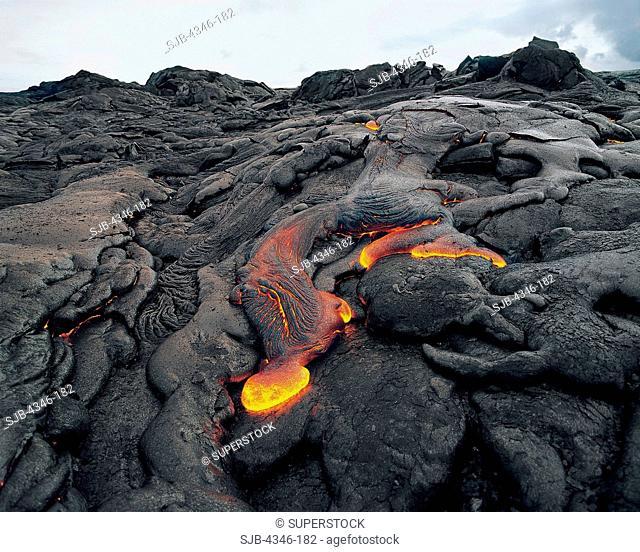 Hot Pahoehoe Lava Flow