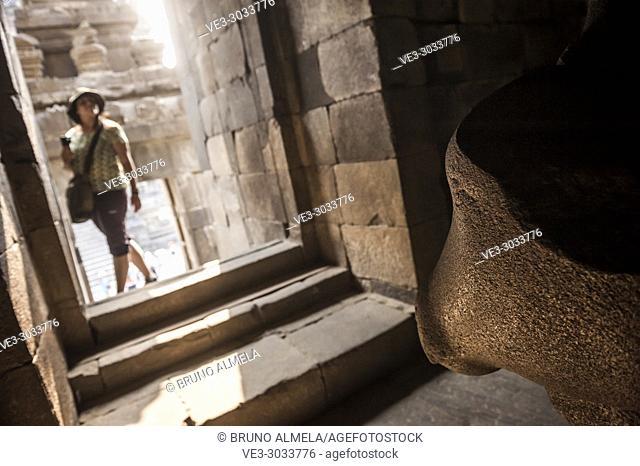 Stone head of Nandi, the Transporter of Shiva in Prambanan Hindu Temple Coumpounds (UNESCO World Heritage Site), Special Region of Yogyakarta,Central Java