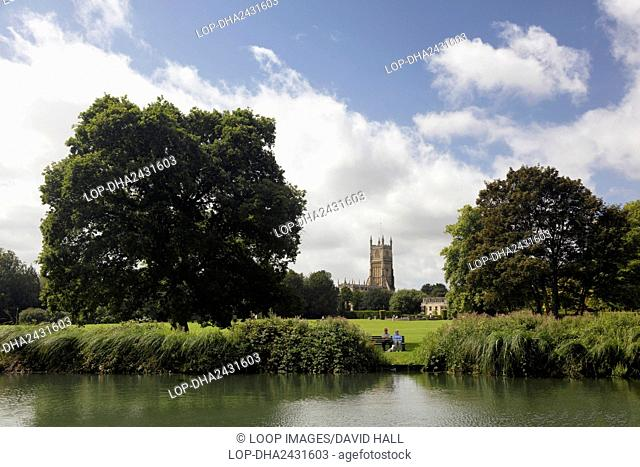 Parish Church of John the Baptist in Cirencester from Cirencester Abbey Grounds