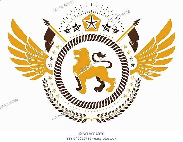 Vintage winged emblem created in vector heraldic design and composed using wild lion illustration, laurel wreath and pentagonal stars
