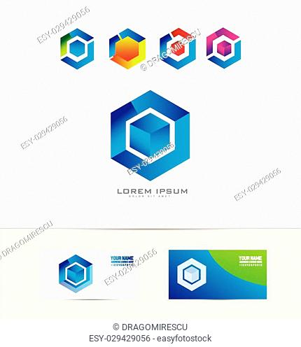Vector company logo icon element template abstract cube square rhobmus geometric business corporate it