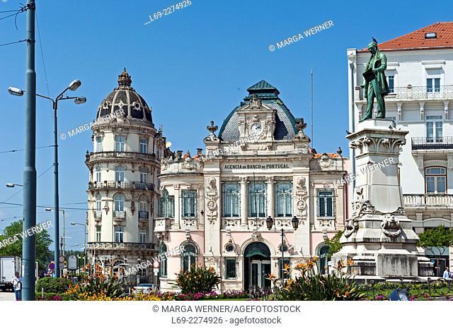 Largo da Portagem with statue of Joaquim António de Aguiar, Hotel Astoria, Banco De Portugal, Coimbra, Portugal, Europe