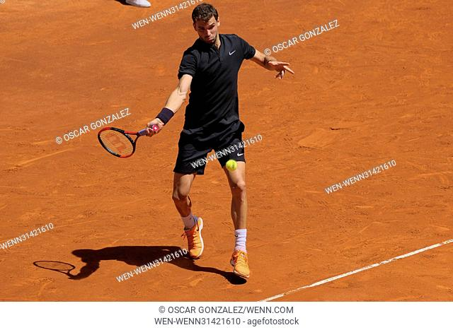 Grigor Dimitrov of Bulgaria during day three of the Mutua Madrid Open tennis at La Caja Magica in Madrid Featuring: Grigor Dimitrov Where: Madrid