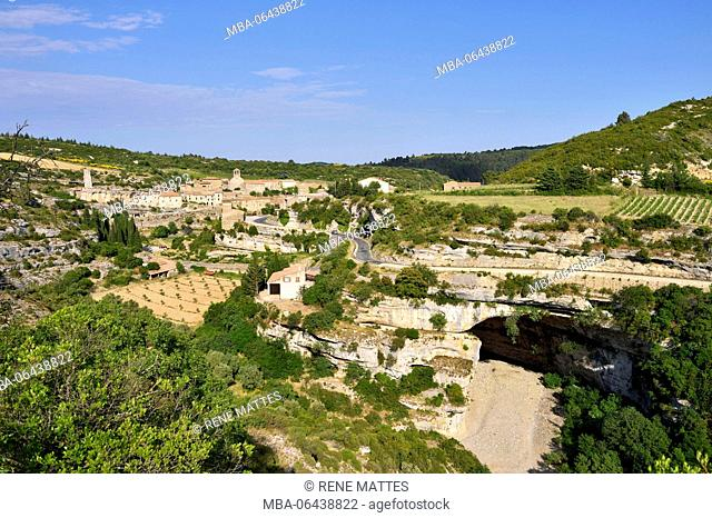 France, Herault, Pays Cathare, Minerve, labelled Les Plus Beaux Villages de France (The Most Beautiful Villages of France), Natural bridge of the Cesse river