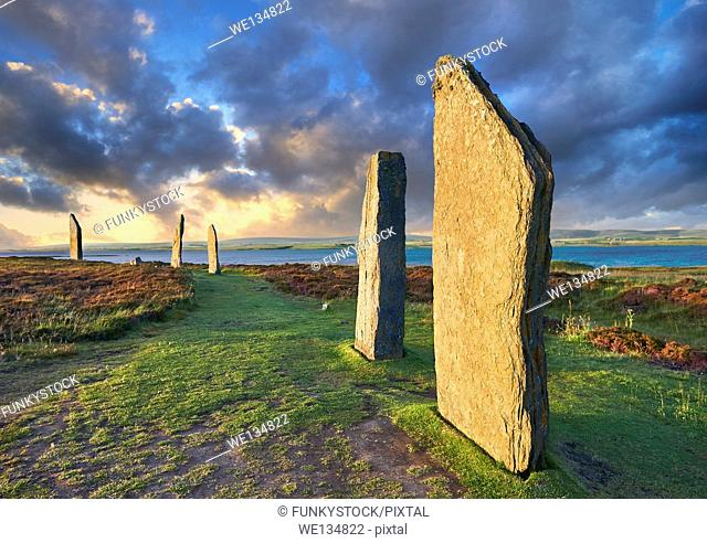 The Ring of Brodgar ( circa 2,500 to 2,000 BC) is a Neolithic henge with a stone circle inside, the third largest in the British Isles and a UNESCO World...