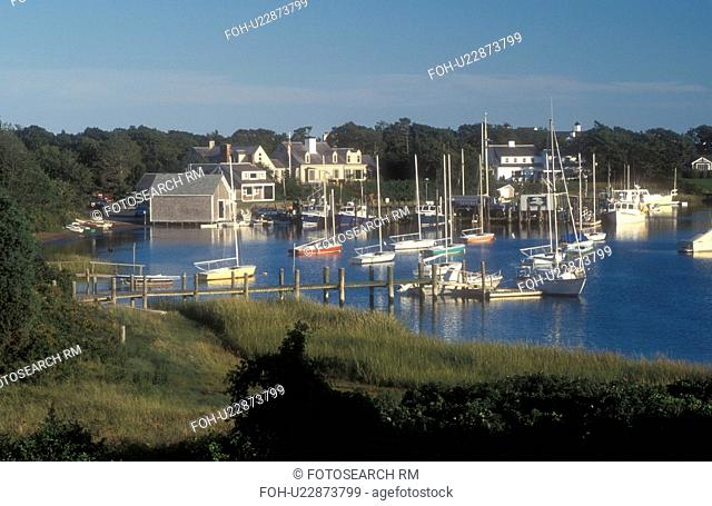 Cape Cod, Massachusetts, Scenic view of boats at Harwich Port marina in Harwich, Massachusetts