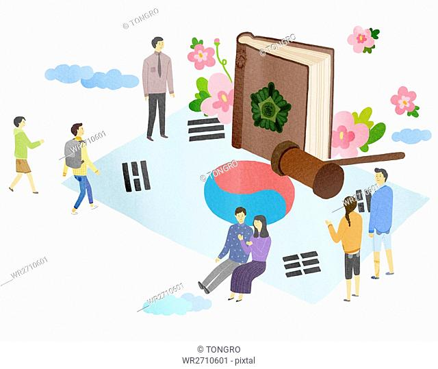 Illustration representing Korean Constitution Day
