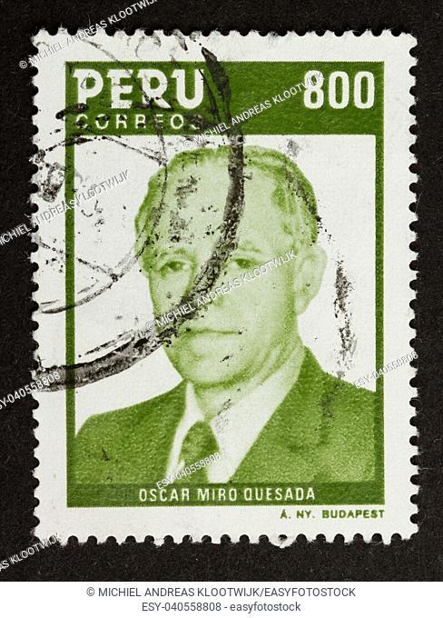 PERU - CIRCA 1980: Stamp printed in the Peru shows a picture of Oscar Miro Quesada, circa 1980