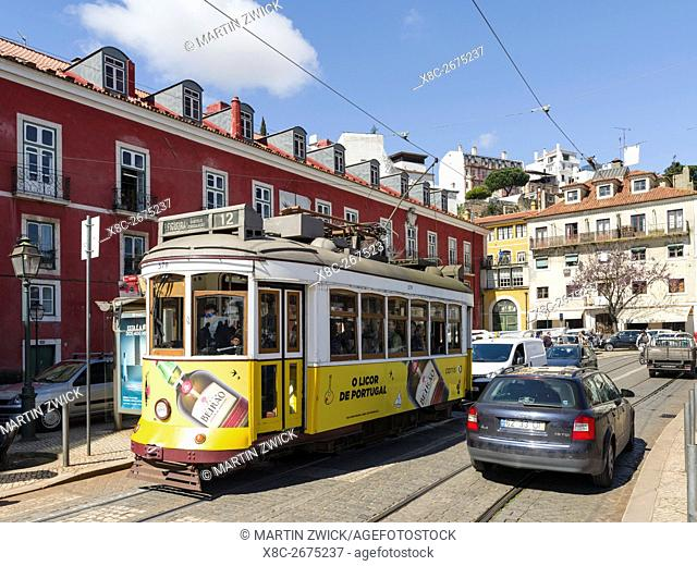 The traditional tramway in the Alfama, an icon of Lisbon. Lisbon (Lisboa) the capital of Portugal. Europe, Southern Europe, Portugal, March