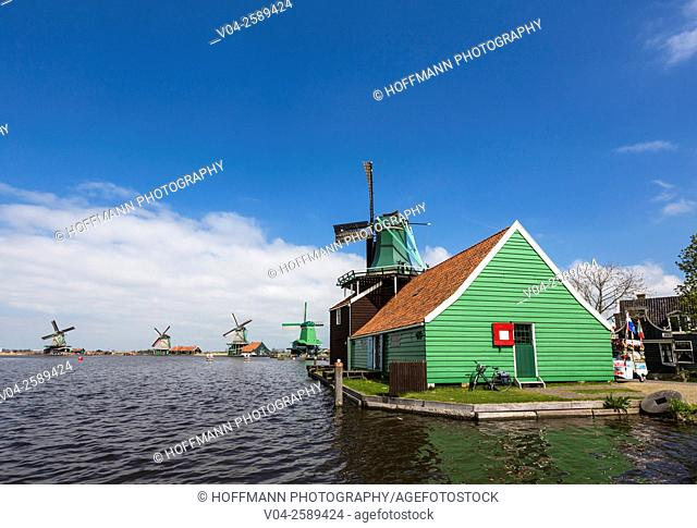 Historic windmills in the historic village of Zaanse Schans, The Netherlands, Europe