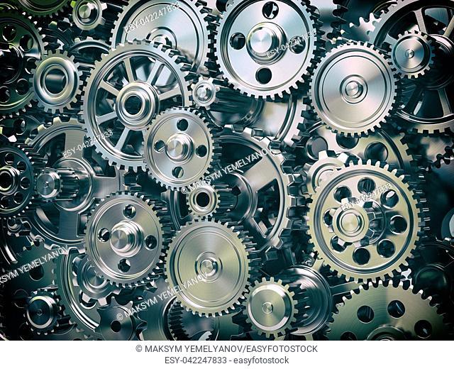 Engine gear wheels. Industrial and teamwork concept background. 3d illustration