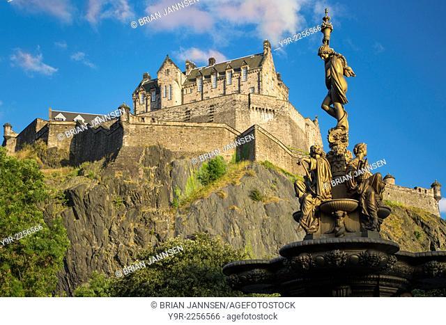 Ross Fountain in the Princes Street Garden and old Edinburgh Castle, Scotland
