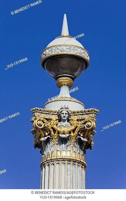 Detail of ornate column by the Place de la Concorde, Paris, France