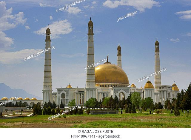 Ashgabat, Kiptshak, Mausoleum, Turkmenistan, Central Asia, Asia, architecture, city, colourful, dome, golden, Islam, marble, minarets, mosque, new, religion