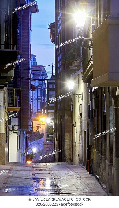 Streetlamp, exterior lighting, Mundaka. Bizkaia. Basque Country. Spain