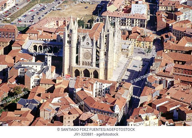 Aerial view of the Cathedral of León.  Castilla y León. Spain