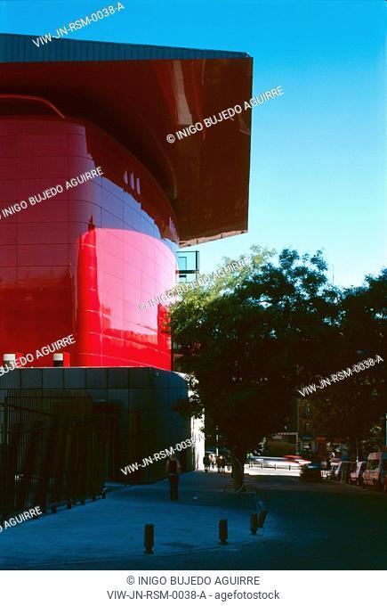 REINA SOFIA MUSEUM, RONDA DE ATOCHA, MADRID, SPAIN, JEAN NOUVEL, EXTERIOR, EXTERIOR VIEW OF THE REAR WHERE THE AUDITORIUM IS LOCATED