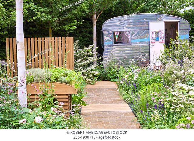 A Celebration of Caravanning at Chelsea Flower Show 2012. Contemporary garden. London England