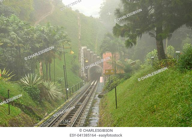 Built on Penang hill this funicular railway is popular with tourists and locals on the island of Penang, Malaysia