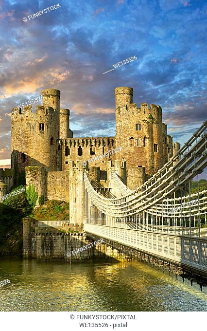 The medieval Conwy Castle English Conway Castle built 1283 and 1289 for Edward 1st, one of the finest medieval examples of military architecture in Europe