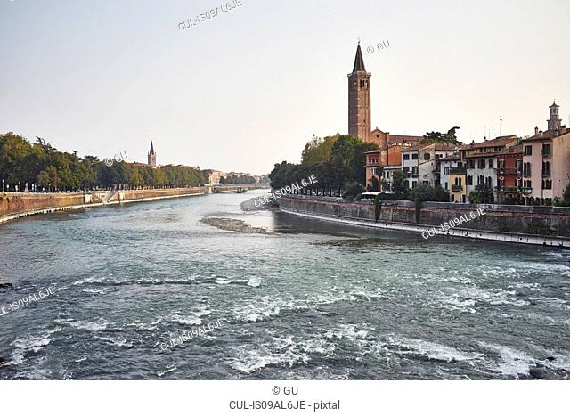 Adige River and cityscape, Verona, Italy