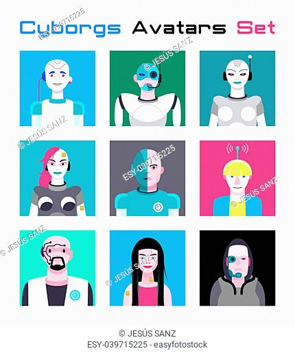 Varied set of cyborgs characters avatars. Imaginative and friendly colourful collection of happy characters, that combine the human and the machine to give a...
