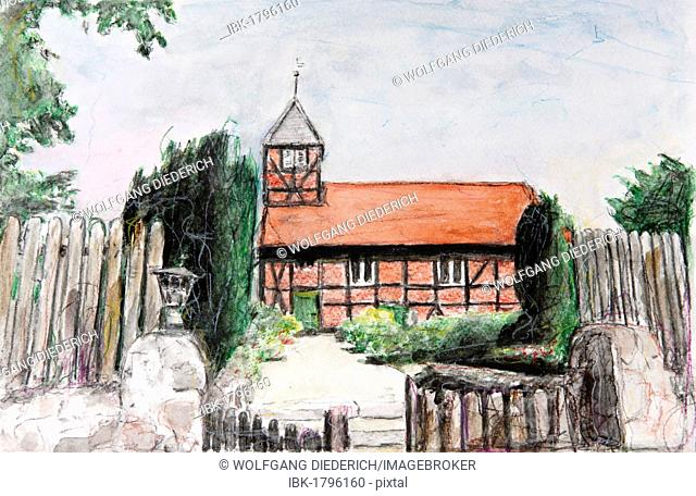 Half-timbered church in Nindorf, Schleswig-Holstein, northern Germany, painted in watercolours by Gerhard Kraus, Kriftel, Germany